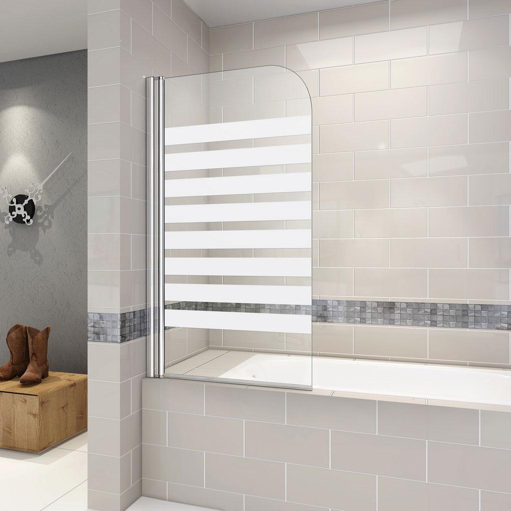 Badewanne Duschwand 180 Trennwand Duschabtrennung 80x140cm Nano Glas