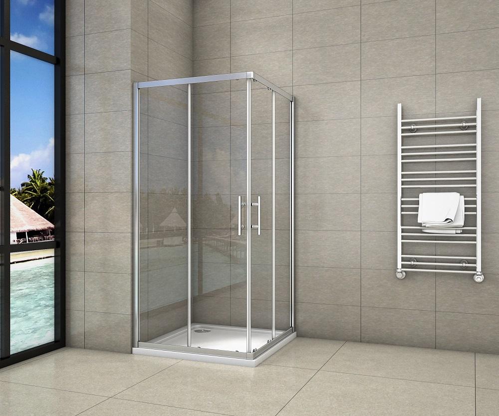 Duschkabine Duschabtrennung Duschtür Echtglas Eckeinstieg oder Schwingtür