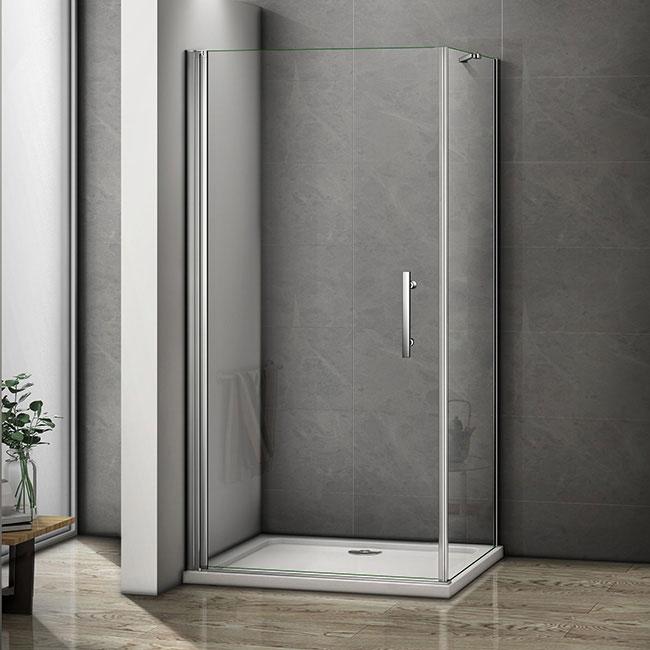 Duschkabine Duschabtrennung Scharniertür Drehtür NANO Glas Seitenwand Duschtasse