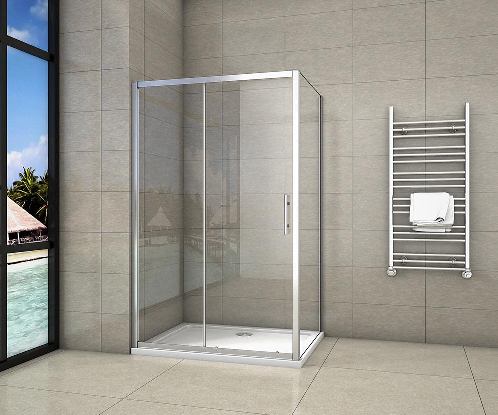 Duschkabine Eckeinstieg Schiebetür Duschabtrennung Duschwand mit//ohne Duschtasse