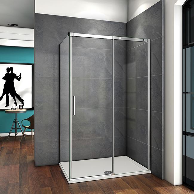 Duschabtrennung Eckeinstieg Schiebetür Duschkabine 6mm Glas Duschwand Duschtasse