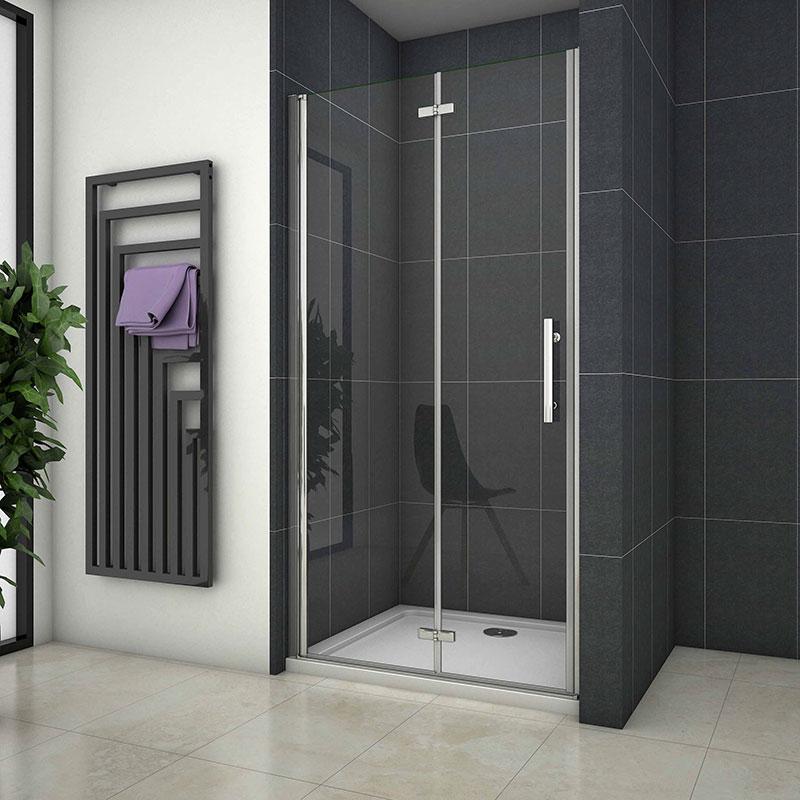 Dusche Duschkabine Duschabtrennung Eckeinstieg Schwingtür Drehtür NANO-Glas 195