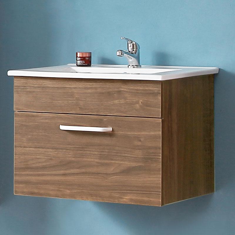 Badmöbel Set 60cm Waschtisch mit Unterschrank Badezimmer Möbel Set  Hängeschrank Walnuss