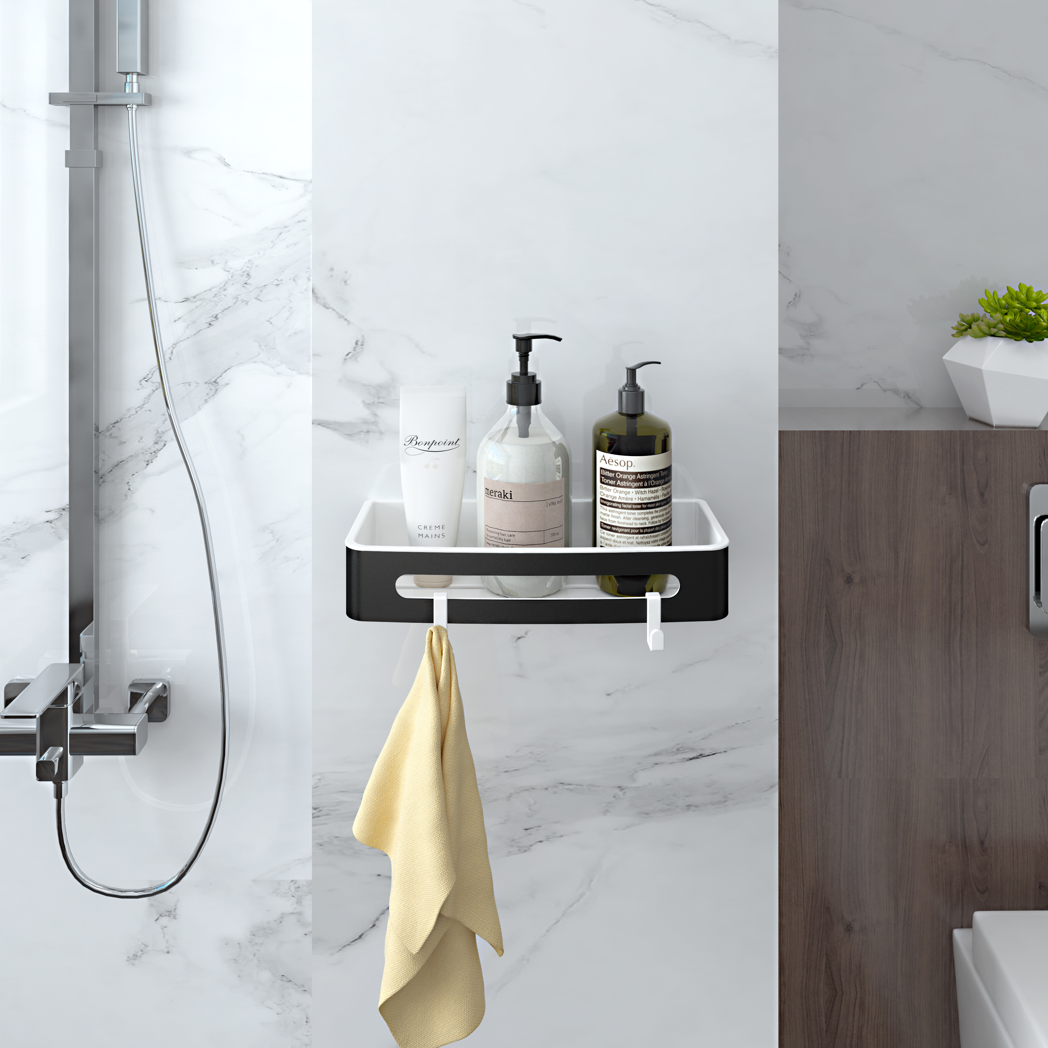 Duschablage mit 20 Haken Duschkorb KLEBEN oder Bohren Eckregal ...