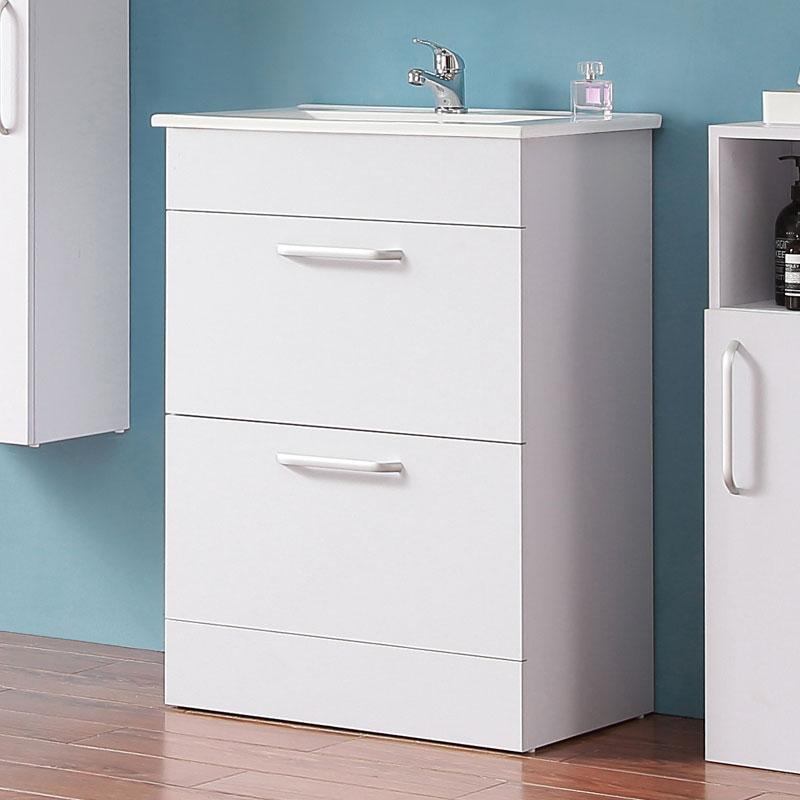 Badezimmer Möbel Set 60 cm Waschtisch mit Unterschrank Keramikbecken  Badmöbel Set Weiß Standschrank