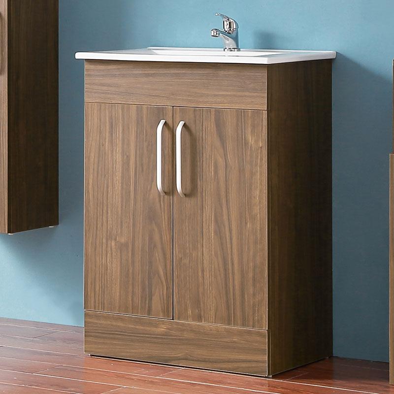 Badezimmer Möbel Set 60 cm Waschtisch mit Unterschrank Keramikbecken  Badmöbel Set Walnuss Standschrank
