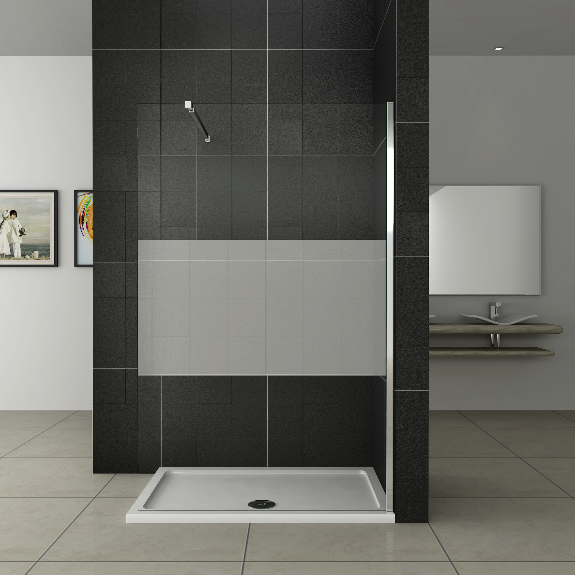 walk in dusche duschwand duschabtrennung echtglas 10mm nano glas 120x200cm w12e 20 10 sa f 084. Black Bedroom Furniture Sets. Home Design Ideas