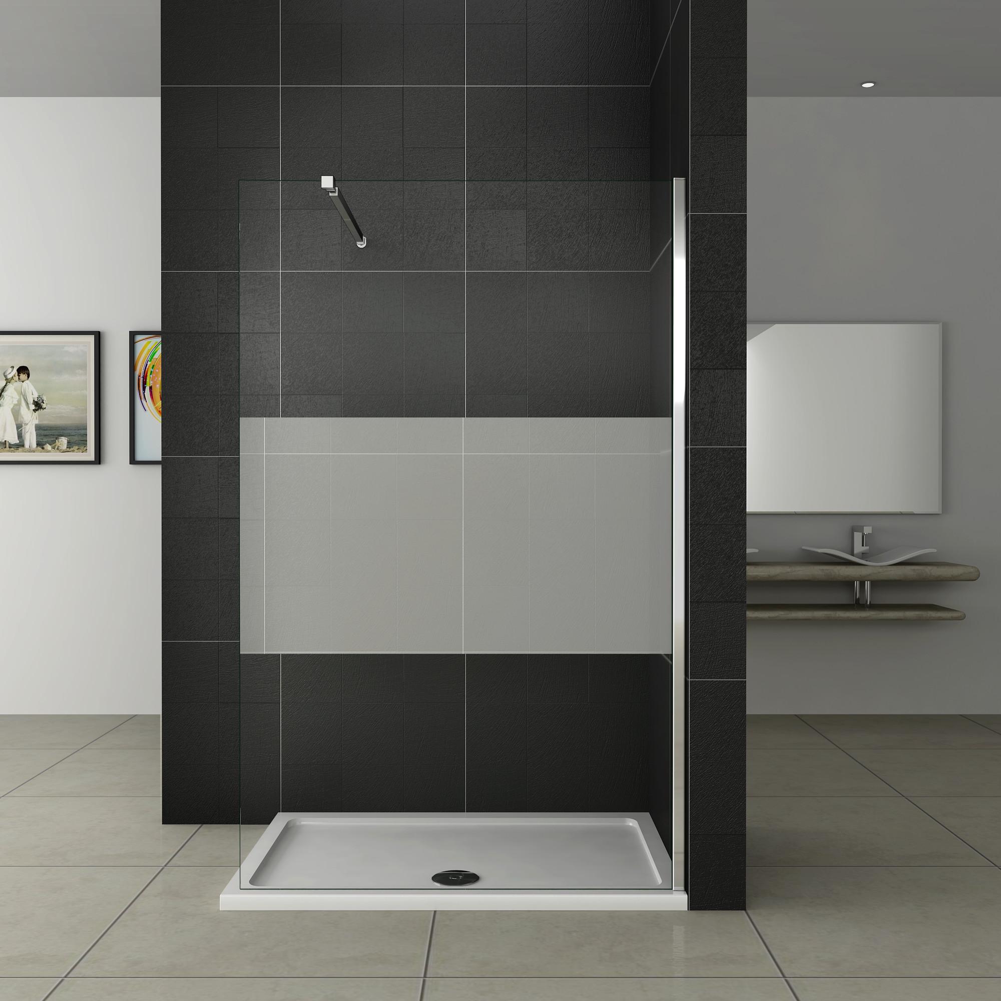 Walk in Dusche Duschwand Duschabtrennung Echtglas 10mm NANO ...