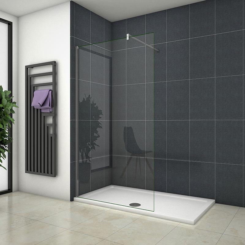 100x200cm Walk in Duschkabine Duschabtrennung 10mm NANO Glas MIT  Glasschutzfolie+ Duschtasse 140x90cm